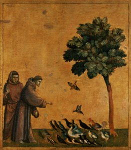 """St. Francis of Assisi, the """"patron saint"""" of animals. Painting by Giotto di Bondone (c.1266-1337) / Louvre, Paris, France / The Bridgeman Art Library"""